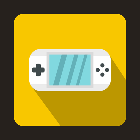 psp: PSP icon in flat style with long shadow. Play symbol