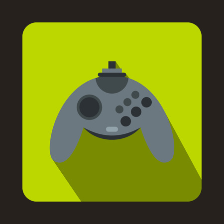 Gray joystick icon in flat style with long shadow. Play symbol