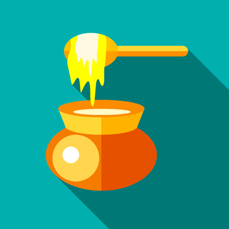 nectar: Jar of honey icon in flat style with long shadow. Food symbol Illustration