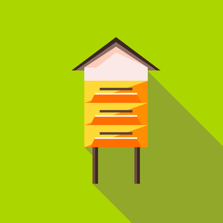 bee house: Beehive icon in flat style with long shadow. Bee house symbol Illustration