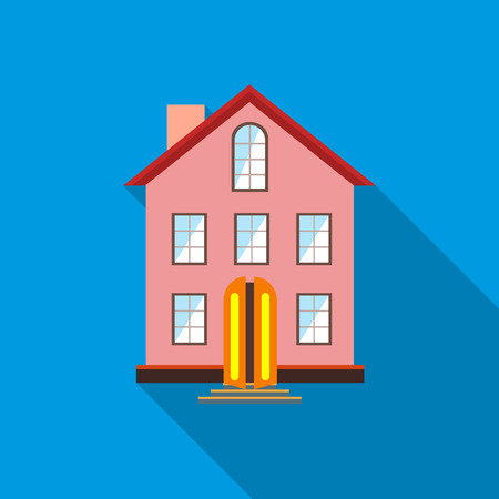 stored: Three stored country house icon in flat style with long shadow Illustration