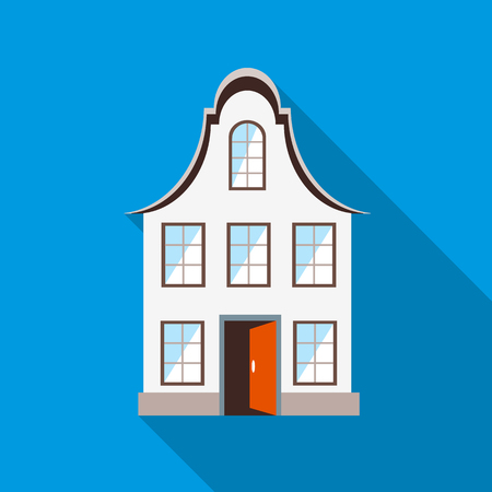 Front of house icon in flat style with long shadow Illustration
