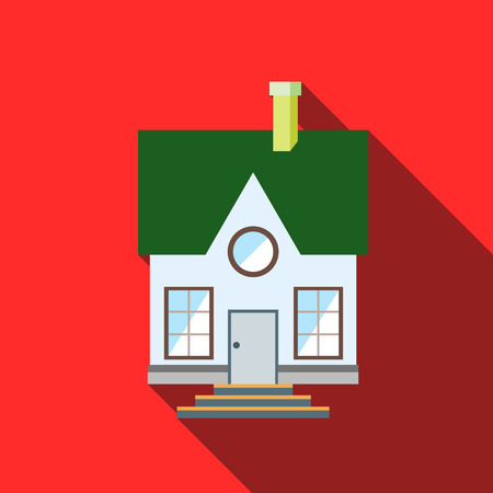 small roof: Small house with a green roof icon in flat style with long shadow
