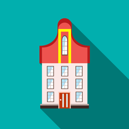 A three-story building icon in flat style with long shadow Illustration