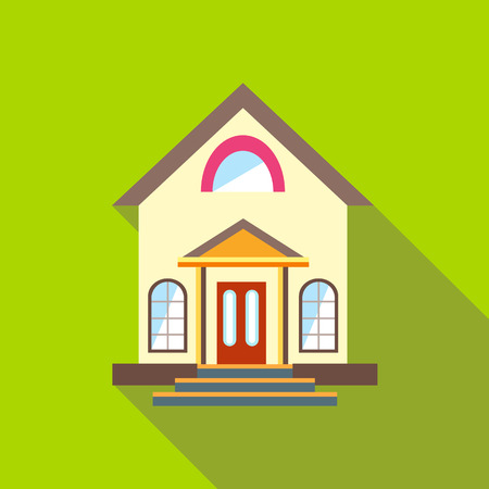 cute house: Small cute house icon in flat style with long shadow