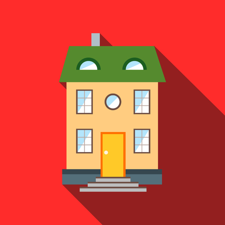 green roof: Two-storey house with green roof icon in flat style with long shadow