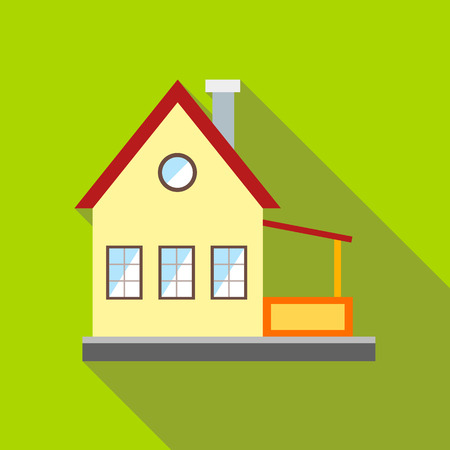 Wooden house on the nature icon in flat style with long shadow Illustration