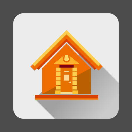 small house: Small house icon in flat style with long shadow