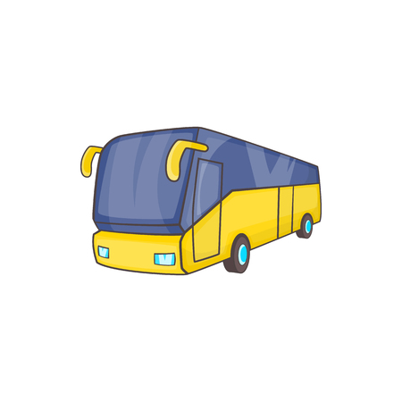 Yellow tourist bus icon in cartoon style on a white background Illustration