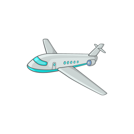 airliner: Passenger airliner icon in cartoon style on a white background