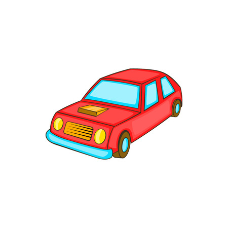 Red car icon in cartoon style on a white background