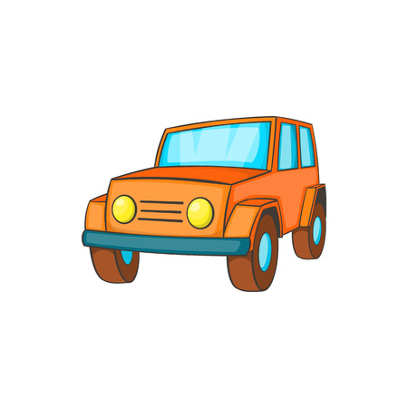 jeep: Orange jeep icon in cartoon style on a white background