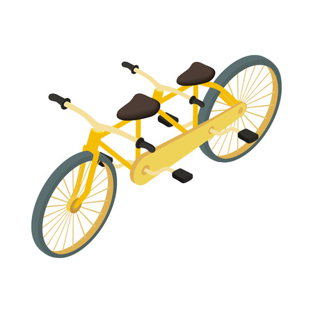 Tandem: Bicycle tandem icon in cartoon style on a white background