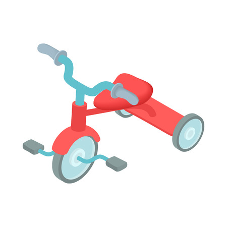 Red kid tricycle icon in cartoon style on a white background