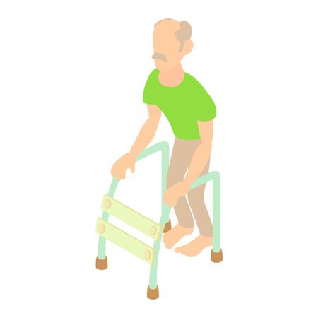 Old man with walking frame icon in cartoon style on a white background Illustration