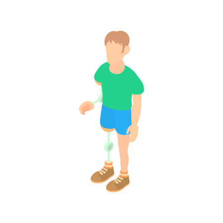 amputation: Man with prosthetic leg and arm icon in cartoon style on a white background