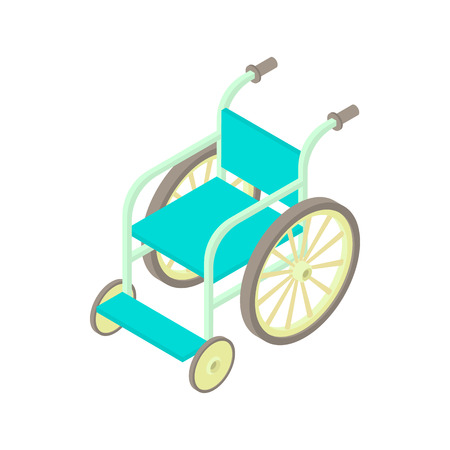 cartoon wheelchair: Wheelchair icon in cartoon style on a white background