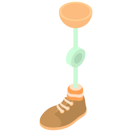 knee sock: Prosthetic leg icon in cartoon style on a white background