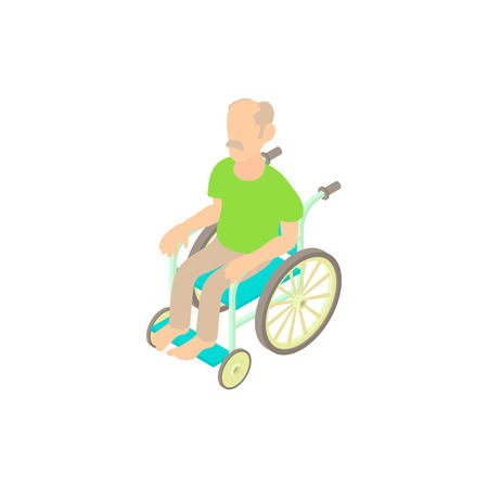 Man sitting on wheelchair icon in cartoon style on a white background