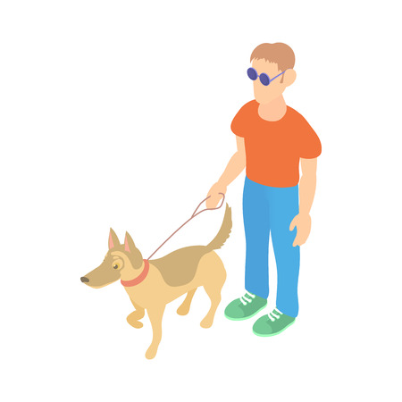 Blind man with guide dog icon in cartoon style on a white background