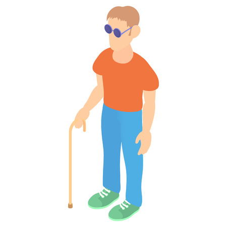 blind man: Blind man with a cane icon in cartoon style on a white background