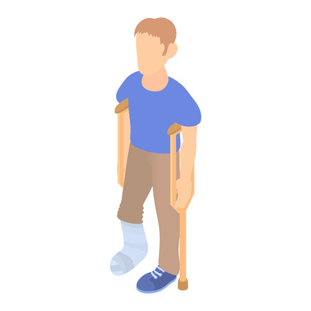 long recovery: Man with crutches and a plaster on a broken leg icon in cartoon style on a white background Illustration