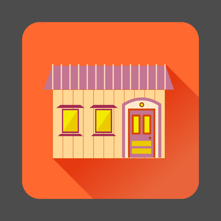 Retro style home icon in flat style with long shadow