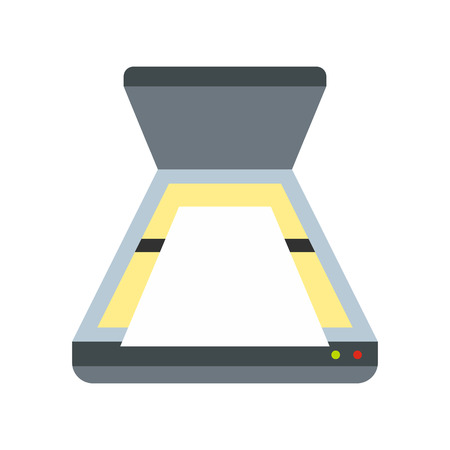 Scanner icon in flat style isolated on white background. Scan symbol Illustration