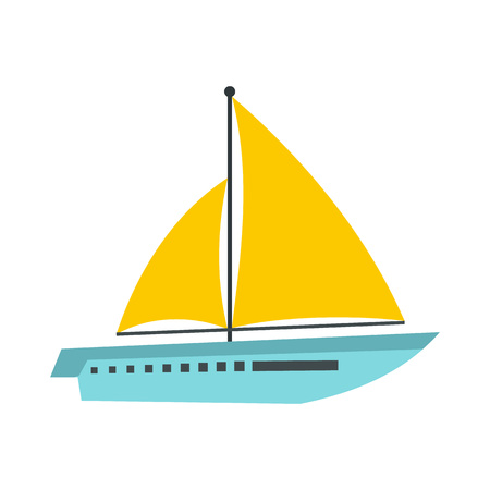 Big ship icon in flat style isolated on white background. Sea transport symbol