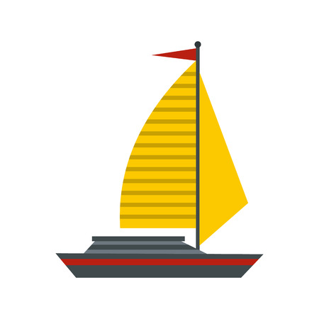 sea transport: Boat with yellow sail icon in flat style isolated on white background. Sea transport symbol Illustration