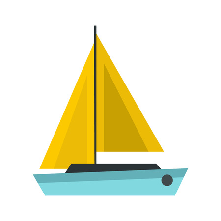 sea transport: Blue boat icon in flat style isolated on white background. Sea transport symbol