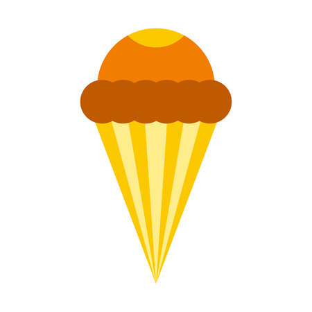 Ice cream cone icon in flat style isolated on white background. Sweets symbol Illustration