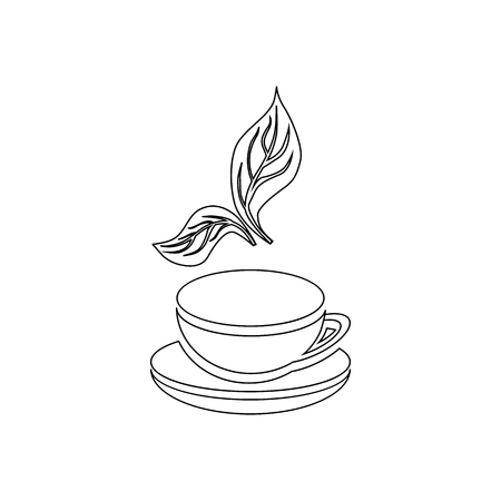 mint leaf: Cup of tea and mint leaf icon in outline style isolated on white background Illustration