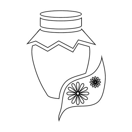 Honey jar pot icon in outline style isolated on white background Illustration