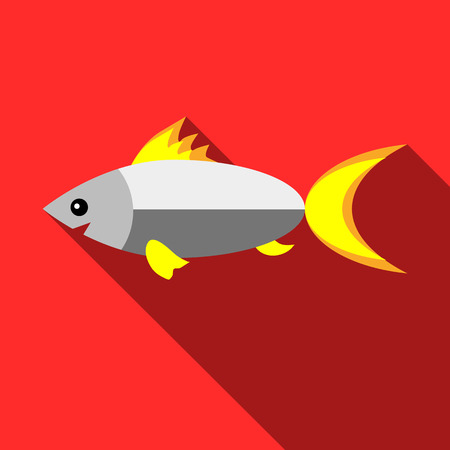 tang: Fish icon in flat style with long shadow. Fishing symbol