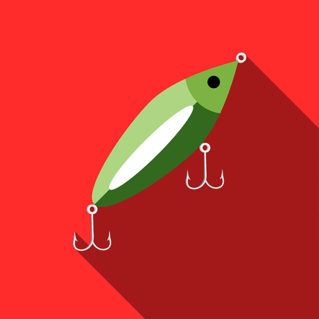 Fish bait icon in flat style with long shadow. Fishing symbol