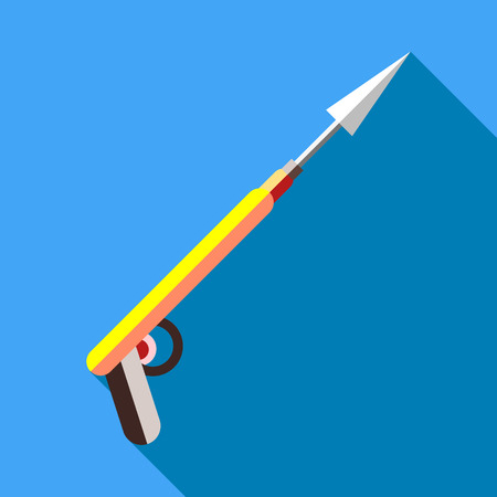 harpoon: Harpoon for fishing icon in flat style with long shadow. Fishing symbol