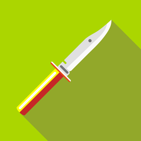 Knife icon in flat style with long shadow. Cut symbol