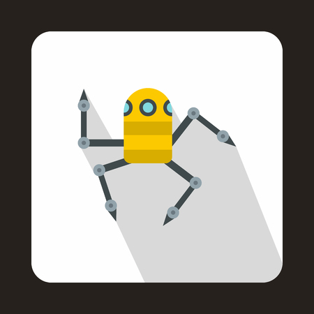metal legs: Robot spider icon in flat style with long shadow. Technology and test symbol Illustration