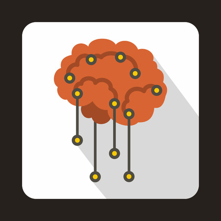sensors: Sensors on human brain icon in flat style with long shadow. Research symbol Illustration