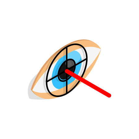 eye 3d: Check pupil of eye icon in isometric 3d style isolated on white background. Vision symbol