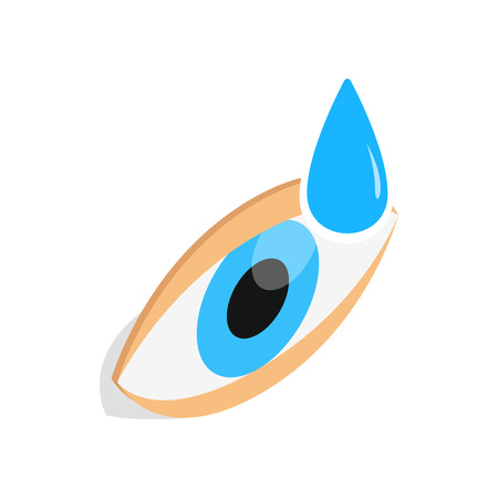 eye 3d: Eye drops for treatment icon in isometric 3d style isolated on white background. Vision symbol