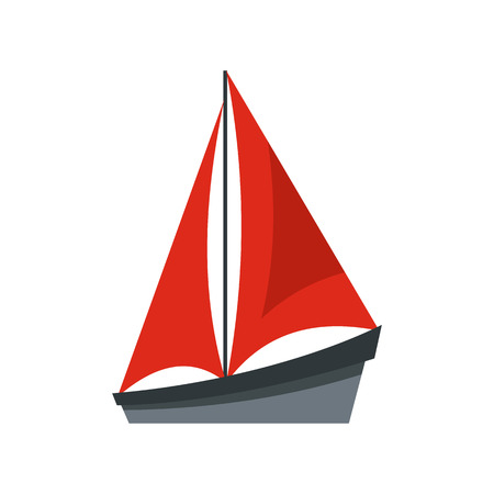 Small boat icon in flat style isolated on white background. Sea transport symbol