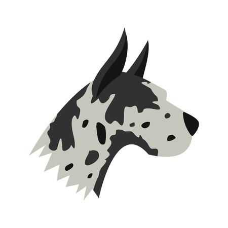 great dane: Great dane dog icon in flat style isolated on white background. Animals symbol Illustration