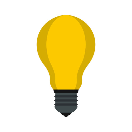 Lamp with yellow light icon in flat style isolated on white background. Lighting symbol