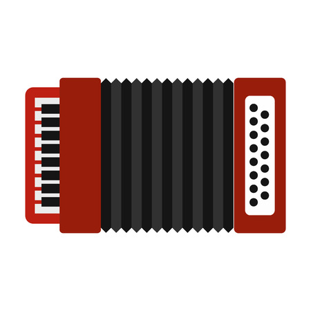 musical instrument symbol: Accordion icon in flat style isolated on white background. Musical instrument symbol