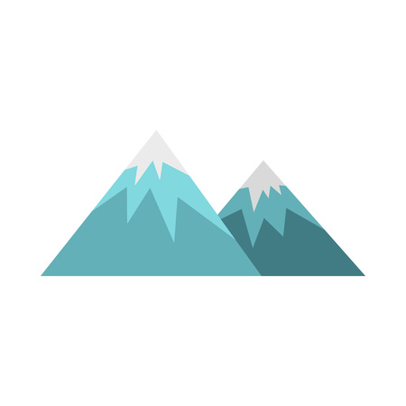 overlooking: Winter mountains icon in flat style isolated on white background. Nature symbol Illustration