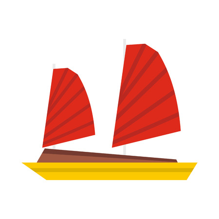 Vietnamese junk boat icon in flat style isolated on white background. Shipbuilding symbol Illustration