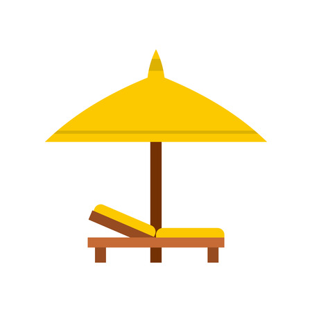 brolly: Bench and umbrella icon in flat style isolated on white background. Relax on the beach symbol Illustration