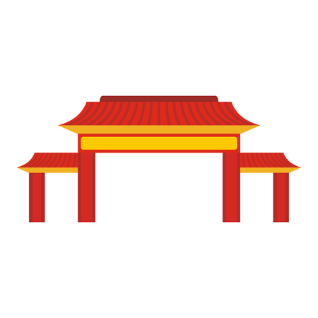 Pagoda icon in flat style isolated on white background. Building symbol